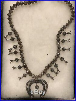 Antique Native American Silver Squash Blossom Bench Made Hogan Beads 1930's