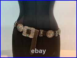 Antique Navajo Native American Sterling Silver Turquoise Hand Made Concho Belt