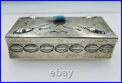 Antique Navajo Native American Sterling Silver Turquoise Hand Made Trinket Box
