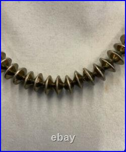 Antique Navajo Pearls Hand Made Sterling Silver Bead Necklace & Bracelet Set 925
