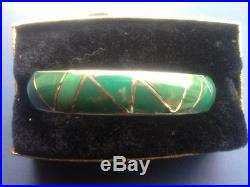 Antique Navajo Silver & Inlaid Turquoise Bracelet Hand-made