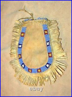 Antique Northern Plains-CrowBeaded Hide Pouch-Bag w Fringe-Native Made