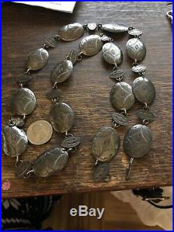 Antique Vintage sterling Silver Native American Navajo Belt Hand Made Concho