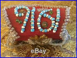 Antique vtg 1916 Iroquois Native American Indian hand made bead pursebagpouch