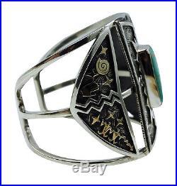 Arland Ben, Bracelet, Carico Lake Turquoise, 14k Gold, Silver, Navajo Made, 7.25