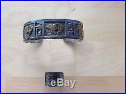 Arland Ben, Bracelet, Sterling Silver, 14k Gold Inlay, Bear Design, Navajo Made