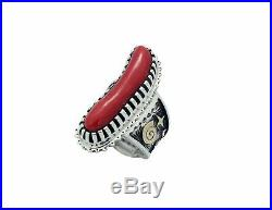 Arland Ben, Ring, Mediterranean Coral, 14k, Silver, Rock Art, Navajo Made, 7 1/2