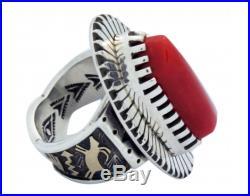 Arland Ben, Ring, Mediterranean Coral, 14k, Sterling Silver, Navajo Made 8.5