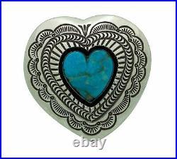 Arnold Blackgoat, Ring, Kingman Turquoise, Shadowbox, Heart, Navajo Made, 8