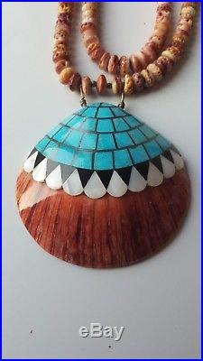 Authentic Hand Made Native American Seashell Turquoise and Spiny Oyster Necklace