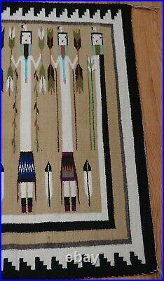 Authentic Native American Navajo Yei Hand Made Wool Vintage Rug 5'1x4'5
