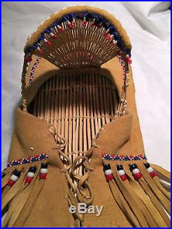 Authentic Native American Paiute Beaded Hand Made Cradle Board