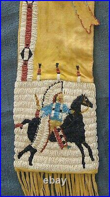 Authentic Native American made beaded PIPE BAG Indian artifact arrowhead