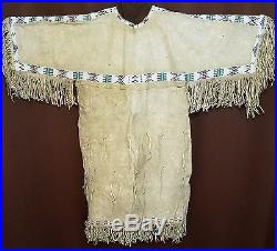 BEAUTIFUL Vintage 1800's/1900's Native American Hand-Made Leather Beaded Dress
