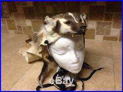 Badger Headdress Native American made Mountain Man hat rendezvous pow wow