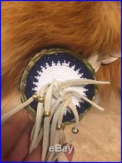 Beaded fox hide hat Native American Made Mountain Man rendezvous regalia