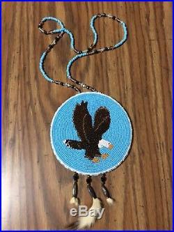 Beautiful Native American Made Beaded Eagle Medallion