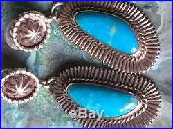 Beautiful Native American Vintage Navajo made Turquoise Long Dangle Earrings