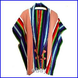 Beautiful Navajo Made Multicolor Poncho from Pendleton Blanket Size XL Womens