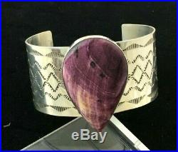 Beautiful Sterling Silver Hand Made Purple Spiny Oyster Bracelet Navajo Curtis J