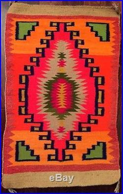 Beautiful Vintage Early 1900s Navajo Made 38 x 24 Rug / Saddle Blanket