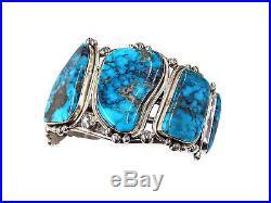 Ben Begaye, Bracelet, Large Design, Kingman Turquoise, Navajo Made