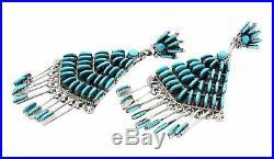 Bernadette Wyaco, Earrings, Sleeping Beauty Turquoise, Cluster, Zuni Made, 3.5