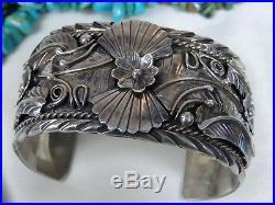 Big 55G Vintage NAVAJO Hand Made STERLING Silver Squash Blossom CUFF Bracelet