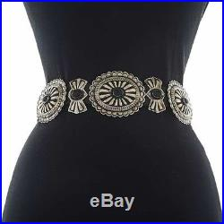 Black Onyx Silver Concho Belt Classic Santa Fe Navajo Made Full Size