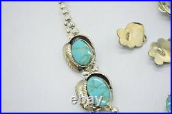 Blue Lone Mountain Navajo Made Mexican Silver Necklace Bracelet Earring Set (B)