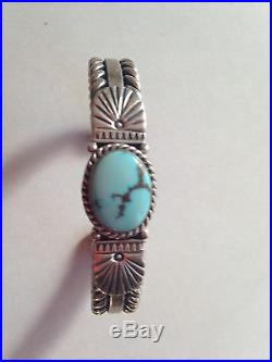 Blue Turquoise Cuff Bracelet, Authentic Native American Made