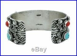 Bo Reeves, Bracelet, Turquoise, Mediterranean Coral, Stamping, Navajo Made, 7