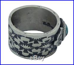 Bo Reeves, Ring, Bisbee Turquoise, Stamping, Sterling Silver, Navajo Made, 6.5