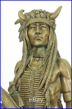 Bronze Marble Sculpture Statue Native American Indian Hand Made Figurine Figure