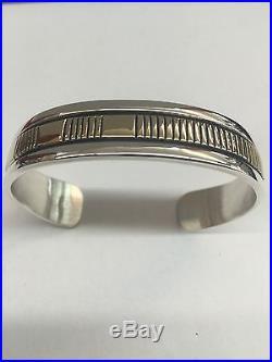 Bruce Morgan Native American Navajo Hand Made 14k Gold Over Silver Cuff Bracelet