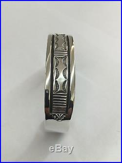 Bruce Morgan Native Navajo Indian Hand Made Sterling Silver Cuff Bracelet
