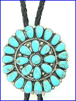 By Navajo Artist J Williams Man Made Synthetic Turquoise Cluster Bolo Tie