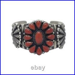 Calvin Martinez, Bracelet, Cluster, Red Mediterranean Coral, Navajo Made, 6 1/2