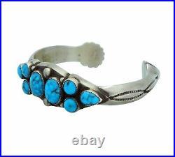 Calvin Martinez, Bracelet, Kingman Turquoise, Cluster, Narrow, Navajo Made, 6