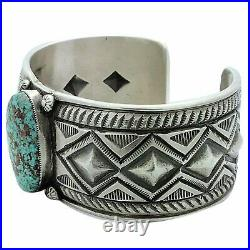 Calvin Martinez, Bracelet, Nevada Blue Turquoise, Stamping, Navajo Made, 6 5/8