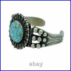 Calvin Martinez, Bracelet, Number Eight Turquoise, Revival, Navajo Made, 6 5/8