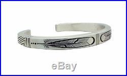 Calvin Martinez, Bracelet, Original Stamping, Feathers, Navajo Made, 6.25