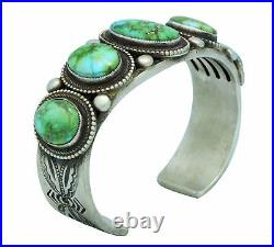 Calvin Martinez, Bracelet, Sonoran Gold Turquoise, Original, Navajo Made, 6 1/2