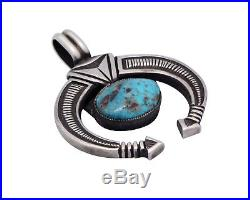 Calvin Martinez, Naja Pendant, Blue Gem Turquoise, Silver, Navajo Made