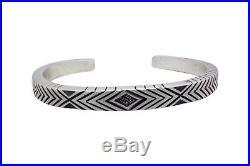 Calvin Martinez, Narrow Bracelet, Stamping, Diamond, Silver, Navajo Made, 6.75