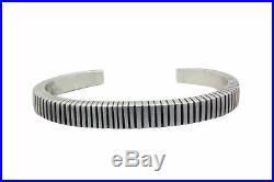 Calvin Martinez, Narrow Bracelet, Stamping, Lines, Silver, Navajo Made, 6.75