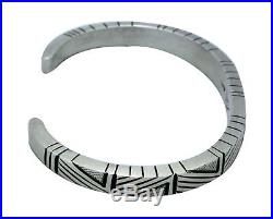 Calvin Martinez, Narrow Bracelet, Stamping, Revival, Silver, Navajo Made, 7 in