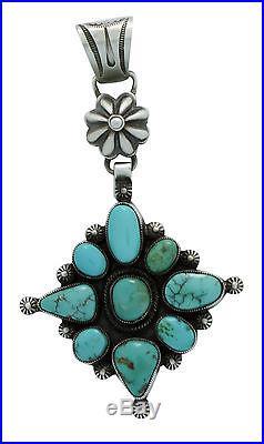 Calvin Martinez, Pendant, Royal Blue Royston, Sterling Silver, Navajo Made, 3.5