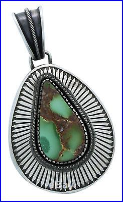 Calvin Martinez, Pendant, Royston Turquoise, Sterling Silver, Navajo Made, 3.25