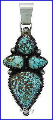 Calvin Martinez, Pendant, Turquoise Mountain, Sterling Silver, Navajo Made, 3.75